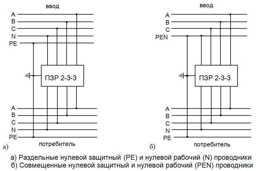 Схема подключения ПЗР2-3-3